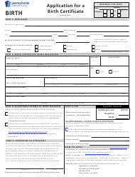 "Form H105.102 ""Application for a Birth Certificate"" - Pennsylvania"