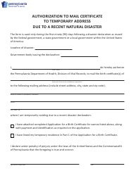 """Authorization to Mail Certificate to Temporary Address Due to a Recent Natural Disaster"" - Pennsylvania"