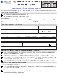 "Form HD002109 ""Application to Add a Father to a Birth Record"" - Pennsylvania"