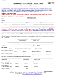 """Application for Multi-Year Search of Birth Record"" - Pennsylvania"