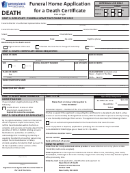 "Form HD02085F ""Funeral Home Application for a Death Certificate"" - Pennsylvania"