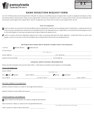 "Form HD02046F ""Name Redaction Request Form"" - Pennsylvania"