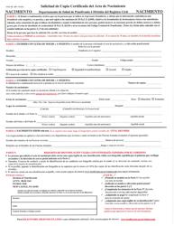 """Formulario H105.102 """"Solicitud De Copia Certificada Del Acta De Nacimiento"""" - Pennsylvania (Spanish)"""