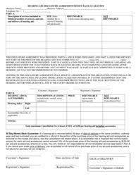 """Hearing Aid Disclosure Agreement/Money Back Guarantee"" - Pennsylvania"