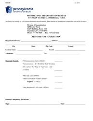 """Form HD0438P """"Tot Trax Materials Ordering Form"""" - Pennsylvania"""