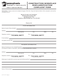 "Form LLC-72 ""Construction Workplace Misclassification Complaint Form"" - Pennsylvania"