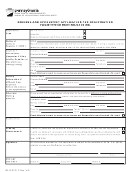 "Form LIBU-32 ""Bedding and Upholstery Application for Registration"" - Pennsylvania"