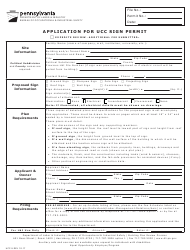 "Form UCC-5 ""Application for Ucc Sign Permit"" - Pennsylvania"
