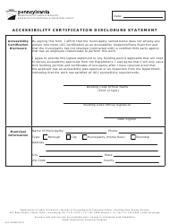 "Form UCC-30 ""Accessibility Certification Disclosure Statement"" - Pennsylvania"