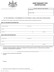 "Form PERA-1 ""Joint Request for Certification"" - Pennsylvania"