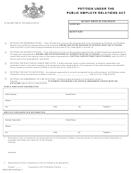 "Form PERA-4 ""Petition Under the Public Employe Relations Act"" - Pennsylvania"
