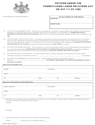 "Form Plrb-13 ""Petition Under the Pennsylvania Labor Relations Act or Act 111 of 1968"" - Pennsylvania"