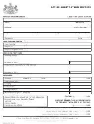 "Form PLRB-26 ""Act 88 Arbitration Invoice"" - Pennsylvania"