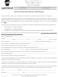 "Form LLC-3 ""Application for Special Certificate"" - Pennsylvania"