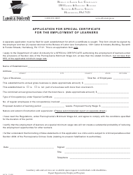 "Form Llc-4 ""Application for Special Certificate for the Employment of Learners"" - Pennsylvania"