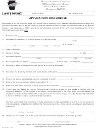 "Form Llc-18 ""Application for a License"" - Pennsylvania"