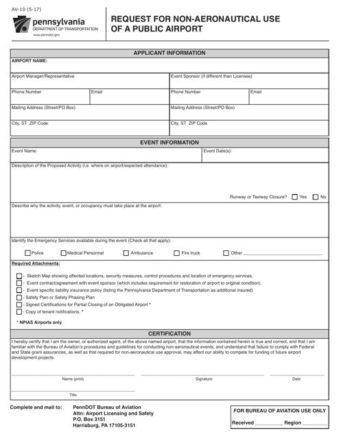 Form AV-10  Printable Pdf