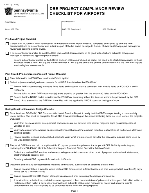Form AV-27  Printable Pdf