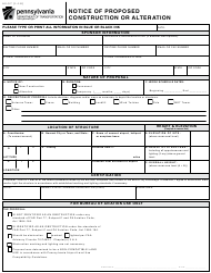 "Form AV-57 ""Notice of Proposed Construction or Alteration"" - Pennsylvania"