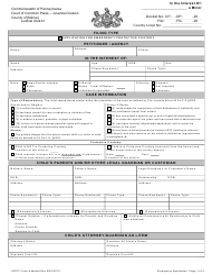 """Application for Emergency Protective Custody"" - Pennsylvania"