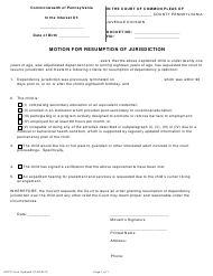 """Motion for Resumption of Jurisdiction"" - Pennsylvania"