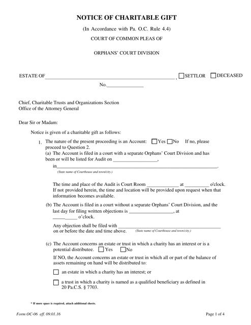 Form OC-06  Printable Pdf