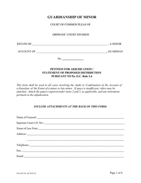 Form OC-4  Printable Pdf
