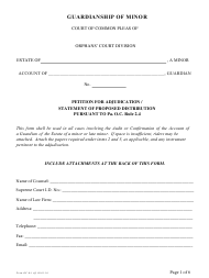 """Form Oc-4 """"Petition for Adjudication / Statement of Proposed Distribution Pursuant to Pa. O.c. Rule 2.4"""" - Pennsylvania"""