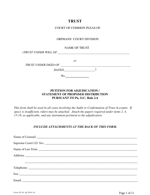 Form OC-2  Printable Pdf