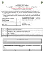 "Form PFBC-L-119 ""Pa Resident Landowner Fishing License Application"" - Pennsylvania"