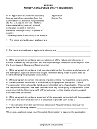 """Form X """"Application for Approval of an Exemption From the Commission's Railroad Clearance Requirements"""" - Pennsylvania"""