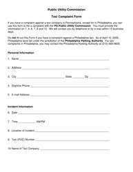 """Taxi Complaint Form"" - Pennsylvania"