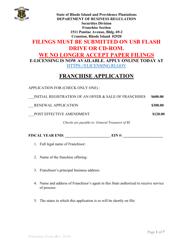 """""""Application for Franchise Registration"""" - Rhode Island"""