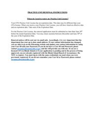 """Rhode Island CPA Practice Unit Renewal Application Form"" - Rhode Island"