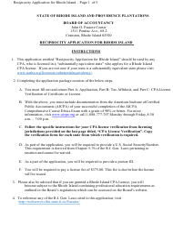 """Rhode Island CPA Reciprocity Application"" - Rhode Island"