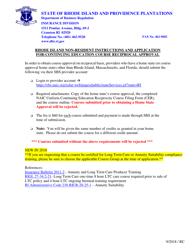 """Uniform Continuing Education Reciprocity Course Filing Form"" - Rhode Island"