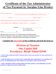 """Certificate of the Tax Administrator of Tax Payment by Surplus Line Broker"" - Rhode Island"