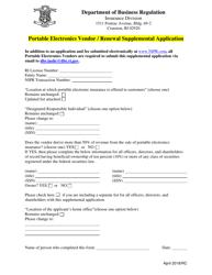 """Portable Electronics Vendor/Renewal Supplemental Application Form"" - Rhode Island"