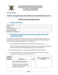 """Uniform Application Checklist for Certified Reinsurers"" - Rhode Island"