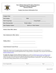 """Surplus Lines Insurer Information Form"" - Rhode Island"