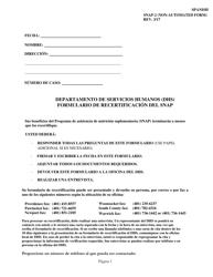 Form SNAP-2 Formulario De Recertificacion Del Snap - Rhode Island