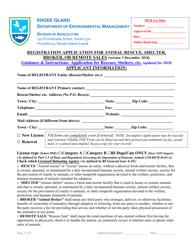 """""""Registration Application for Animal Rescue, Shelter,broker, or Remote Sales"""" - Rhode Island"""