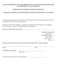 """""""Business Concern Disclosure Statement for Solid, Medical, and Hazardous Waste Management Facilities"""" - Rhode Island"""