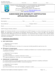 """""""Subdivision Site Suitability Certification Application"""" - Rhode Island"""