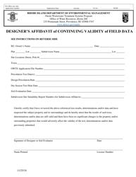 """Designer's Affidavit of Continuing Validity of Field Data"" - Rhode Island"