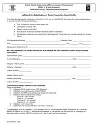 """Affidavit for Substitution of Advantex Ax for Advantex Rx"" - Rhode Island"