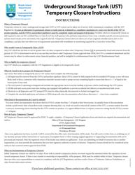 """""""Underground Storage Tank (Ust) Temporary Closure Application Form"""" - Rhode Island"""