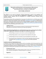 """""""Site Work Affidavit"""" - Rhode Island"""