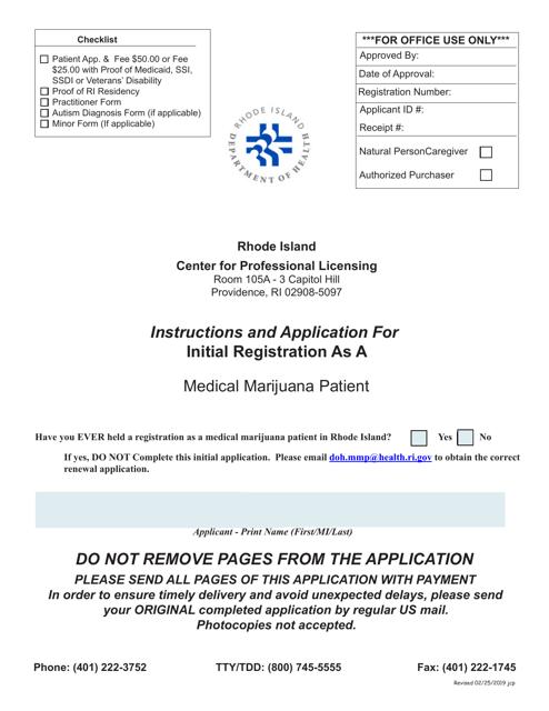 """Application for Initial Registration as a Medical Marijuana Patient"" - Rhode Island Download Pdf"