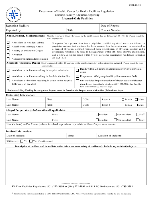 """Nursing Facility Required Reporting - Licensed-Only Facilities"" - Rhode Island Download Pdf"